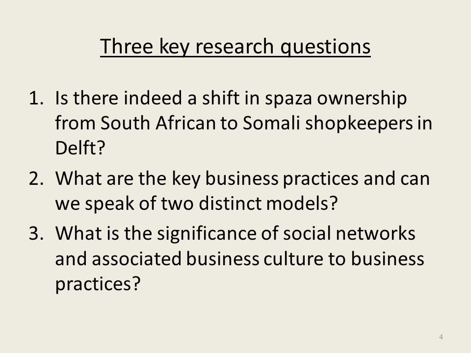 Three key research questions 1.Is there indeed a shift in spaza ownership from South African to Somali shopkeepers in Delft? 2.What are the key busine