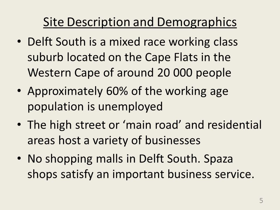 Site Description and Demographics Delft South is a mixed race working class suburb located on the Cape Flats in the Western Cape of around 20 000 peop