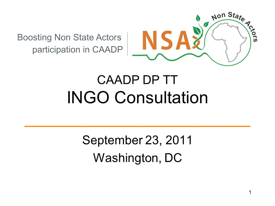 CAADP DP TT INGO Consultation ________________________ September 23, 2011 Washington, DC 1