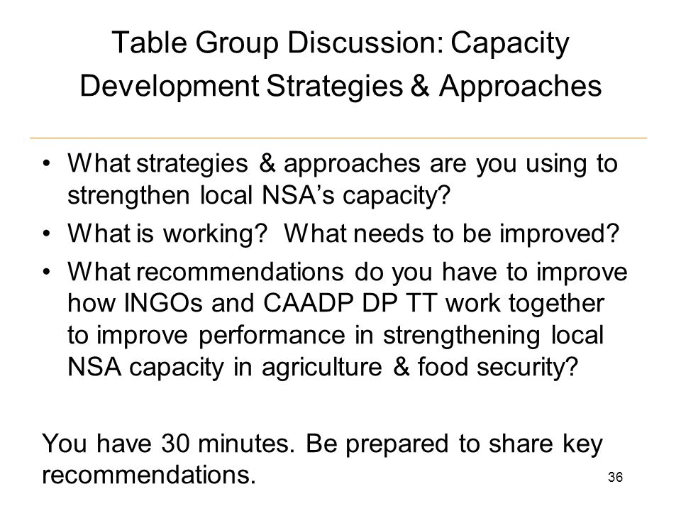 Table Group Discussion: Capacity Development Strategies & Approaches What strategies & approaches are you using to strengthen local NSA's capacity.