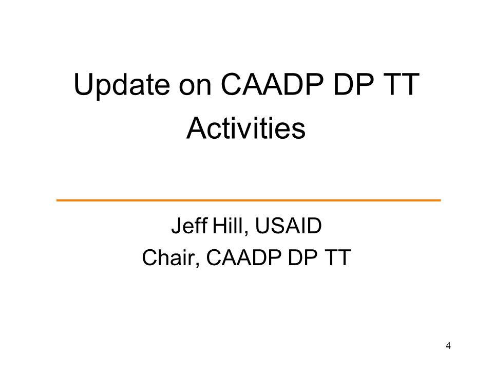 Update on CAADP DP TT Activities Jeff Hill, USAID Chair, CAADP DP TT 4