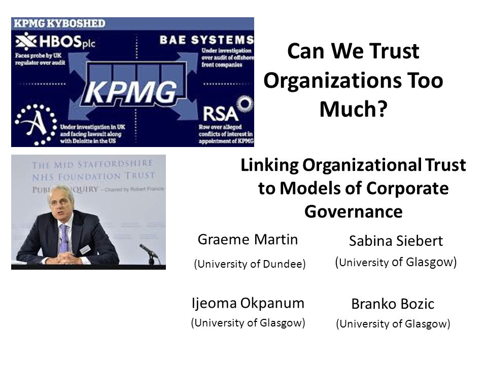 Can We Trust Organizations Too Much.