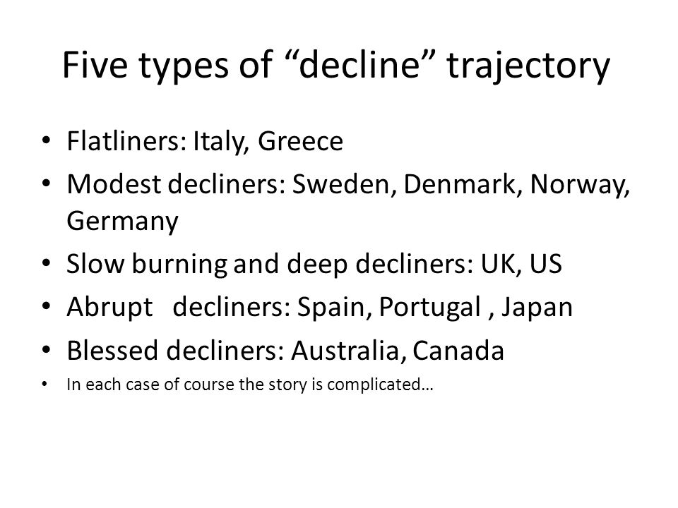 "Five types of ""decline"" trajectory Flatliners: Italy, Greece Modest decliners: Sweden, Denmark, Norway, Germany Slow burning and deep decliners: UK, U"