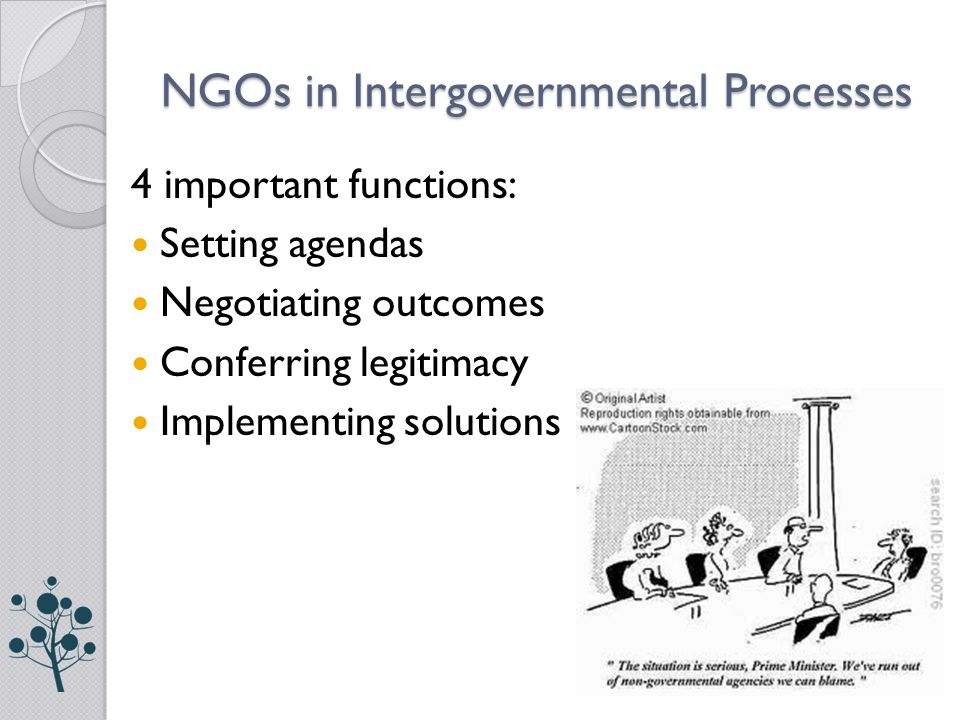 NGOs in Intergovernmental Processes 4 important functions: Setting agendas Negotiating outcomes Conferring legitimacy Implementing solutions