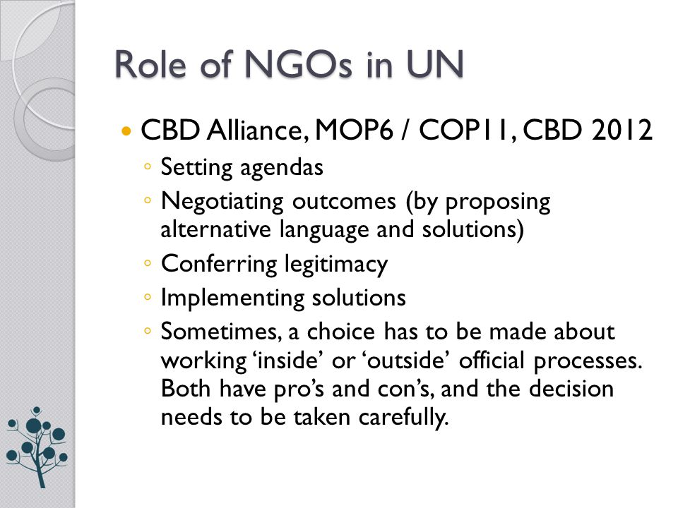 Role of NGOs in UN CBD Alliance, MOP6 / COP11, CBD 2012 ◦ Setting agendas ◦ Negotiating outcomes (by proposing alternative language and solutions) ◦ C