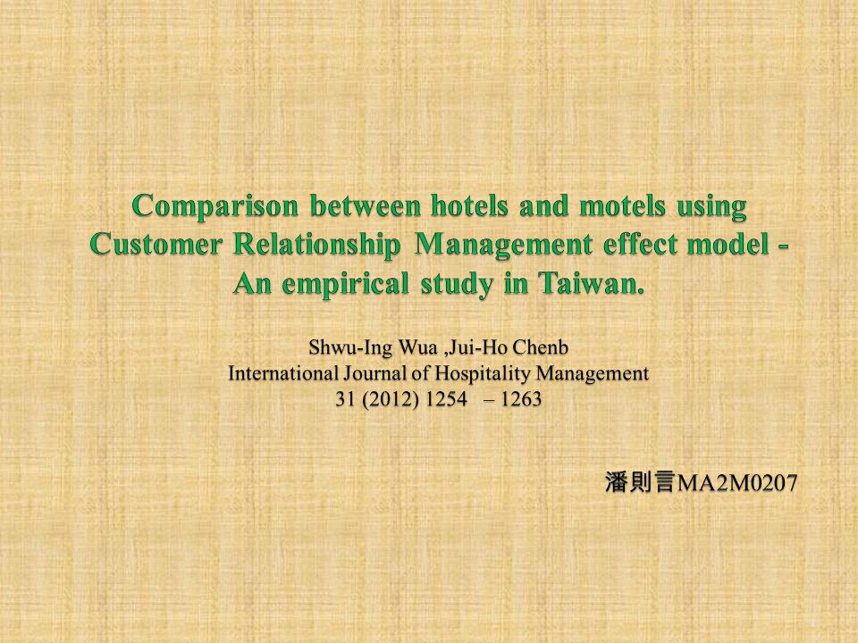 abstract This study aims to explore the influence of customer relationship management (CRM) on the relationship marketing effect (RME) and business performance (BP) for hotels and motels in Taiwan, and compare the differences between the two.