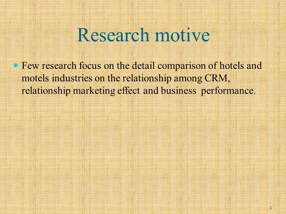 Research purpose (1)To explore the impact of CRM on relationship marketing effect.
