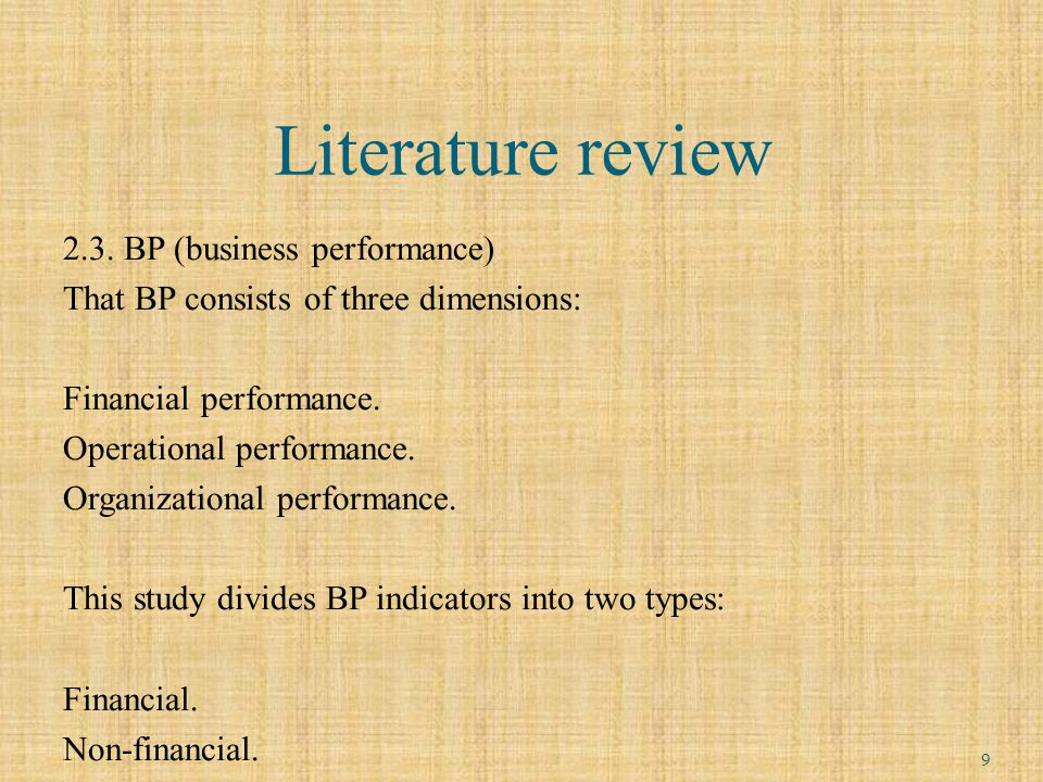 Literature review 2.3.