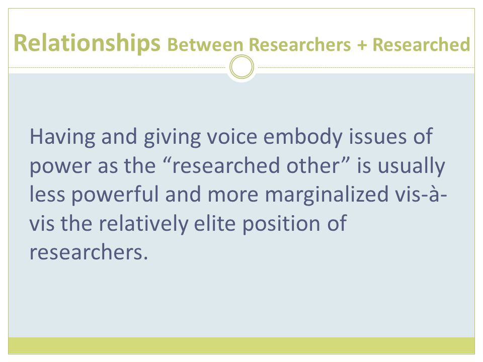 "Relationships Between Researchers + Researched Having and giving voice embody issues of power as the ""researched other"" is usually less powerful and m"