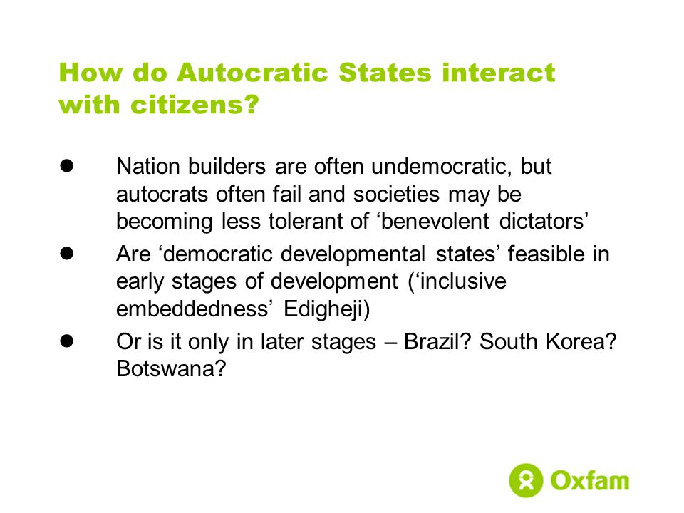 How do Autocratic States interact with citizens.