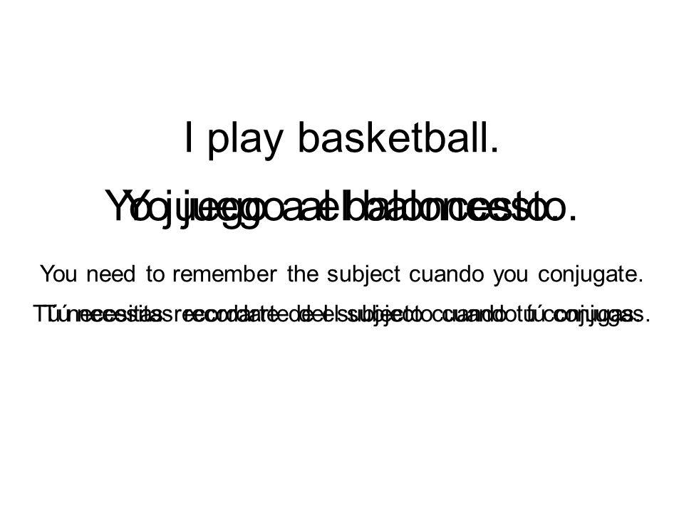 I play basketball. Yo juego a el baloncesto.Yo juego al baloncesto.