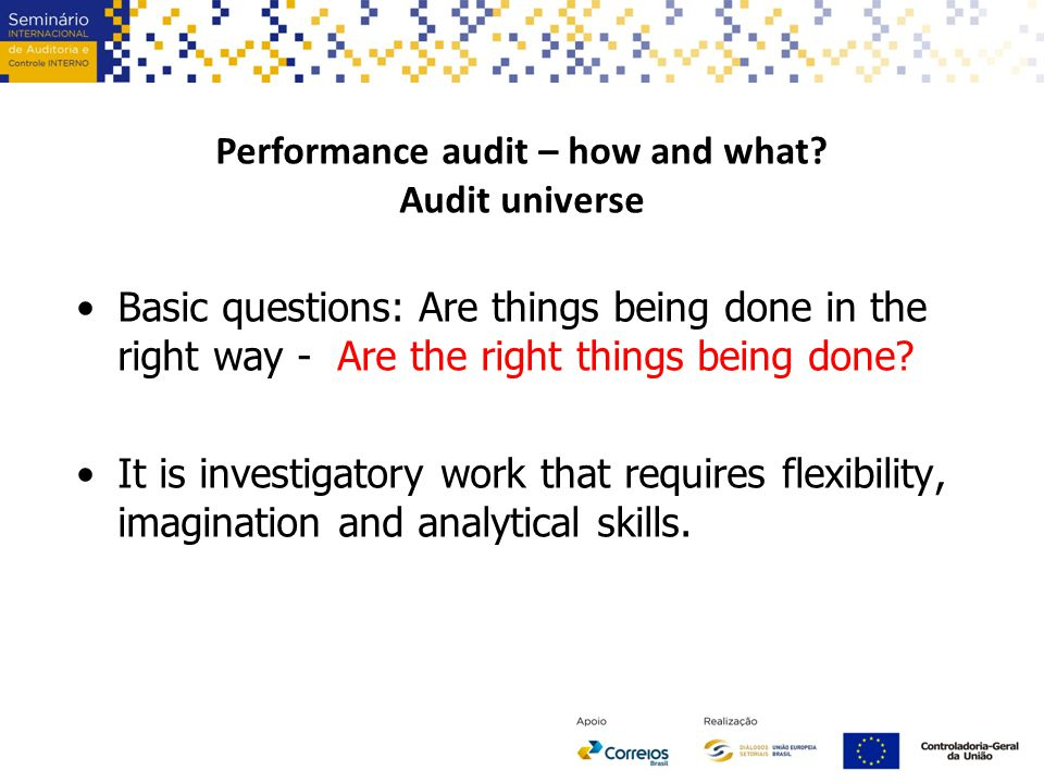 Performance audit – how and what.
