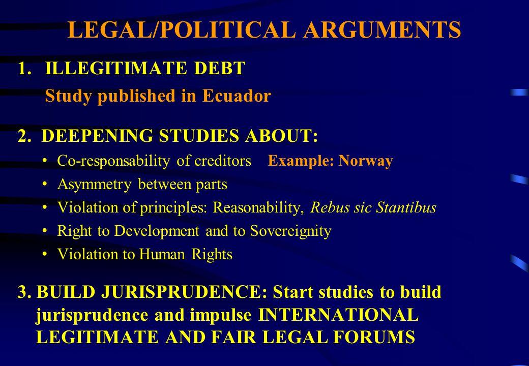 LEGAL/POLITICAL ARGUMENTS 1.ILLEGITIMATE DEBT Study published in Ecuador 2.