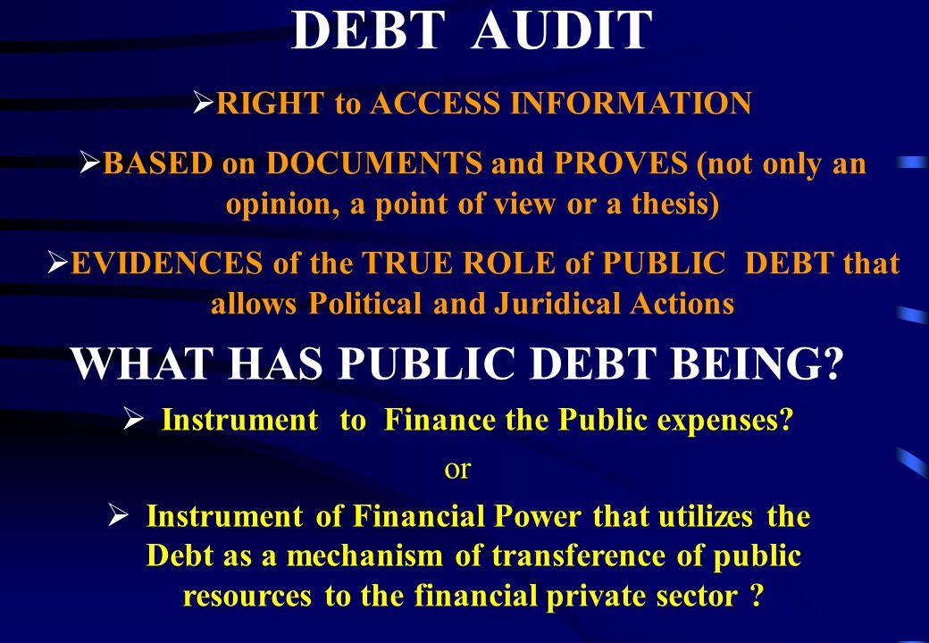 Official Debt Audit – Ecuador Integral Debt Audit Definition – Decree Nº 472 / 2007: Art.