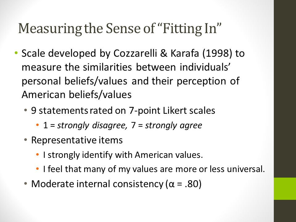 Measuring the Sense of Fitting In Scale developed by Cozzarelli & Karafa (1998) to measure the similarities between individuals' personal beliefs/values and their perception of American beliefs/values 9 statements rated on 7-point Likert scales 1 = strongly disagree, 7 = strongly agree Representative items I strongly identify with American values.