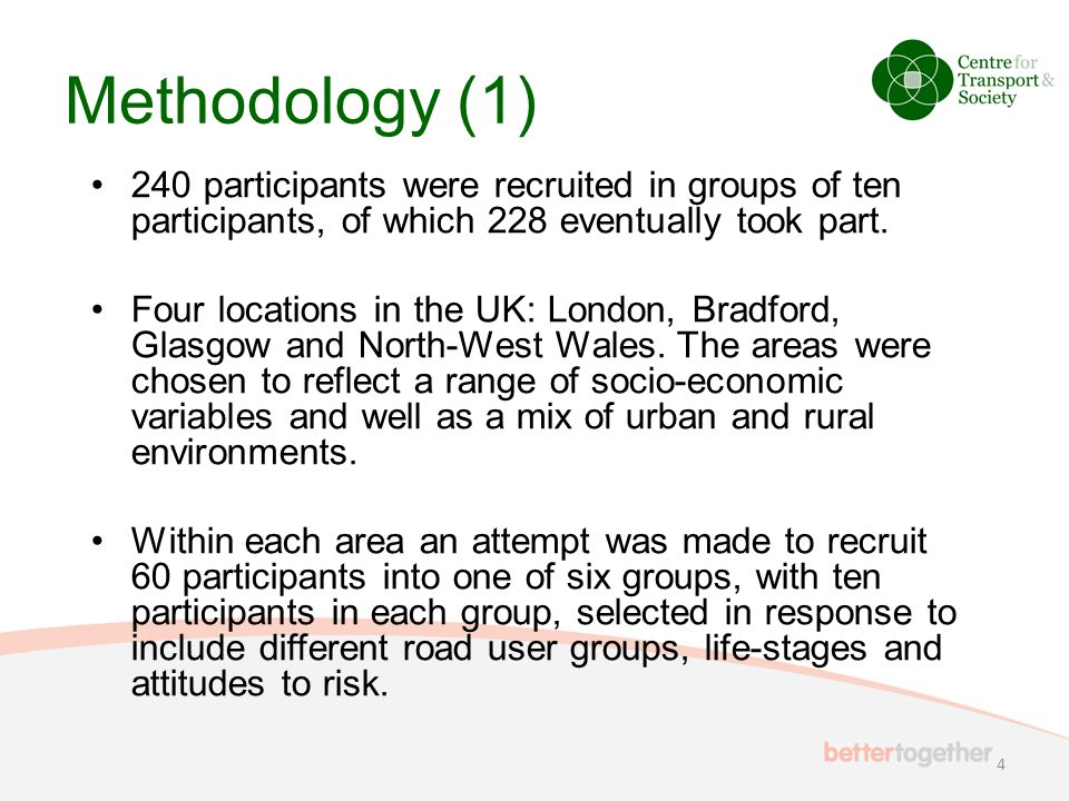 Methodology (1) 240 participants were recruited in groups of ten participants, of which 228 eventually took part. Four locations in the UK: London, Br