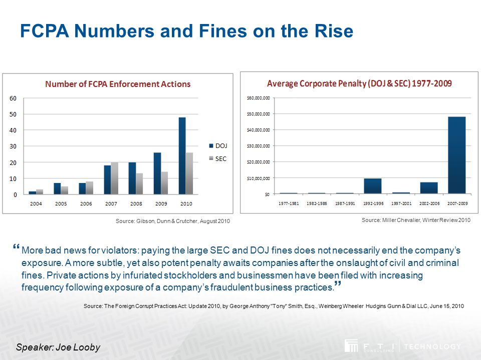 FCPA Numbers and Fines on the Rise More bad news for violators: paying the large SEC and DOJ fines does not necessarily end the company's exposure. A