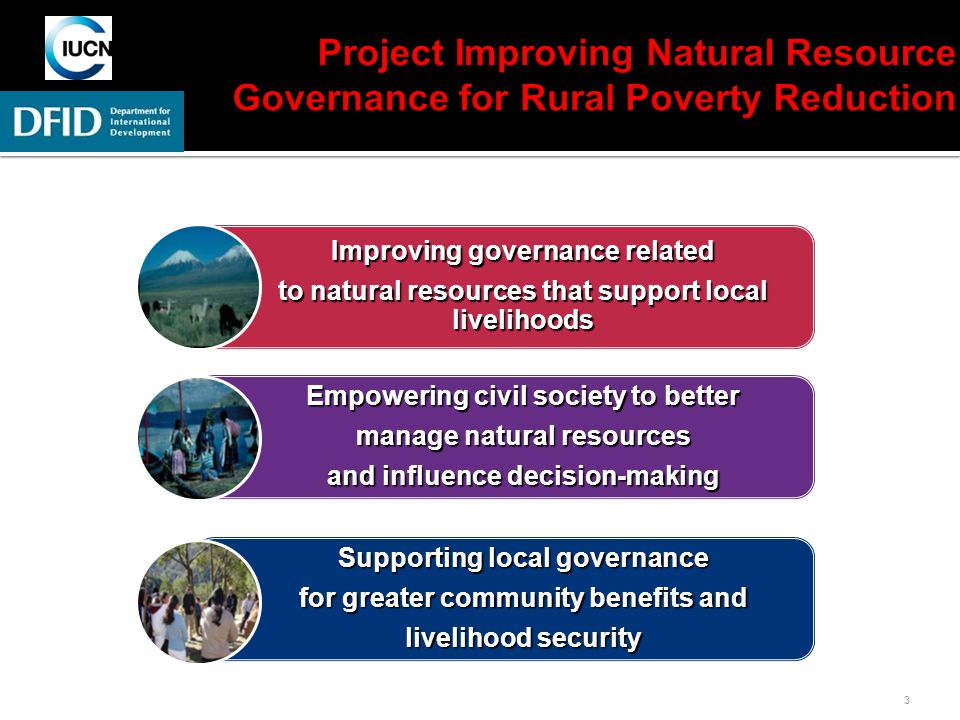 3 Improving governance related to natural resources that support local livelihoods Empowering civil society to better manage natural resources and influence decision-making Supporting local governance for greater community benefits and livelihood security