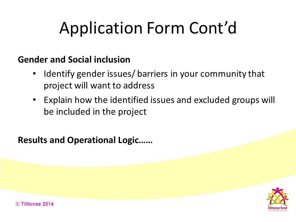 © Tilitonse 2014 Application Form Cont'd Gender and Social inclusion Identify gender issues/ barriers in your community that project will want to addr
