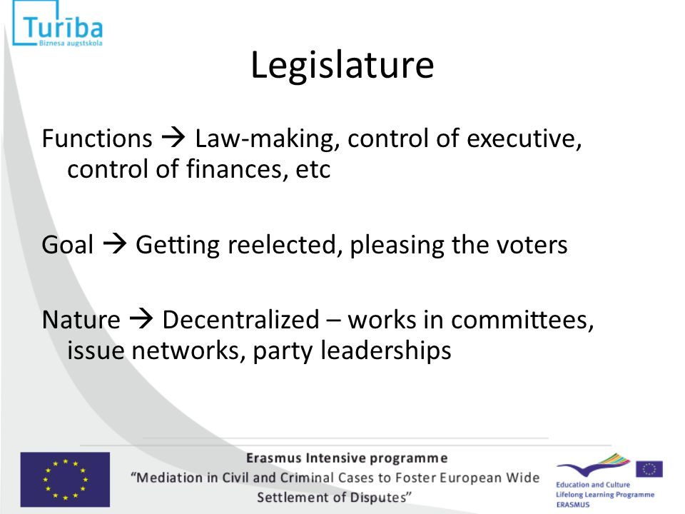 Legislature Functions  Law-making, control of executive, control of finances, etc Goal  Getting reelected, pleasing the voters Nature  Decentralize