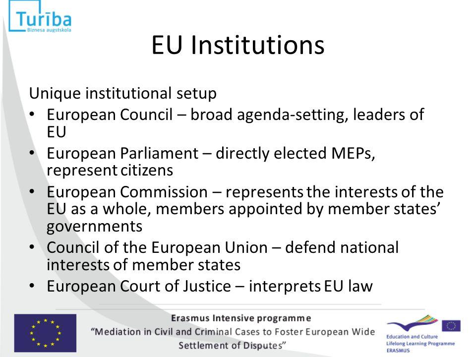EU Institutions Unique institutional setup European Council – broad agenda-setting, leaders of EU European Parliament – directly elected MEPs, represe