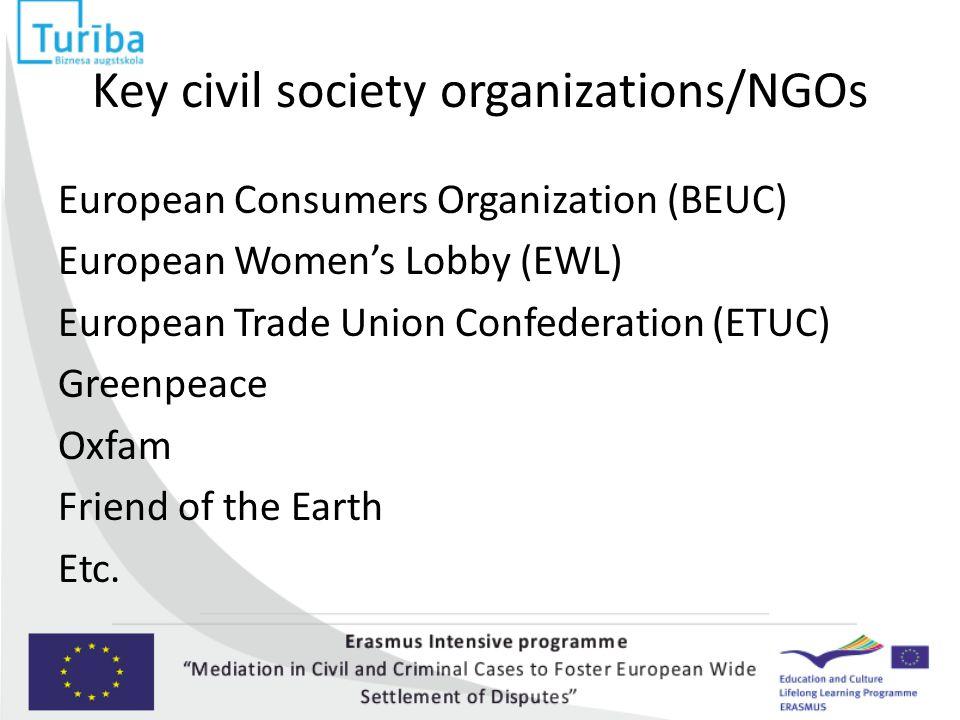 Key civil society organizations/NGOs European Consumers Organization (BEUC) European Women's Lobby (EWL) European Trade Union Confederation (ETUC) Gre