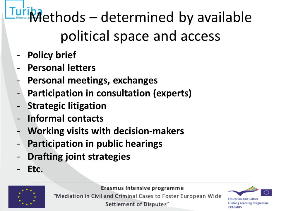 Methods – determined by available political space and access -Policy brief -Personal letters -Personal meetings, exchanges -Participation in consultation (experts) -Strategic litigation -Informal contacts -Working visits with decision-makers -Participation in public hearings -Drafting joint strategies -Etc.