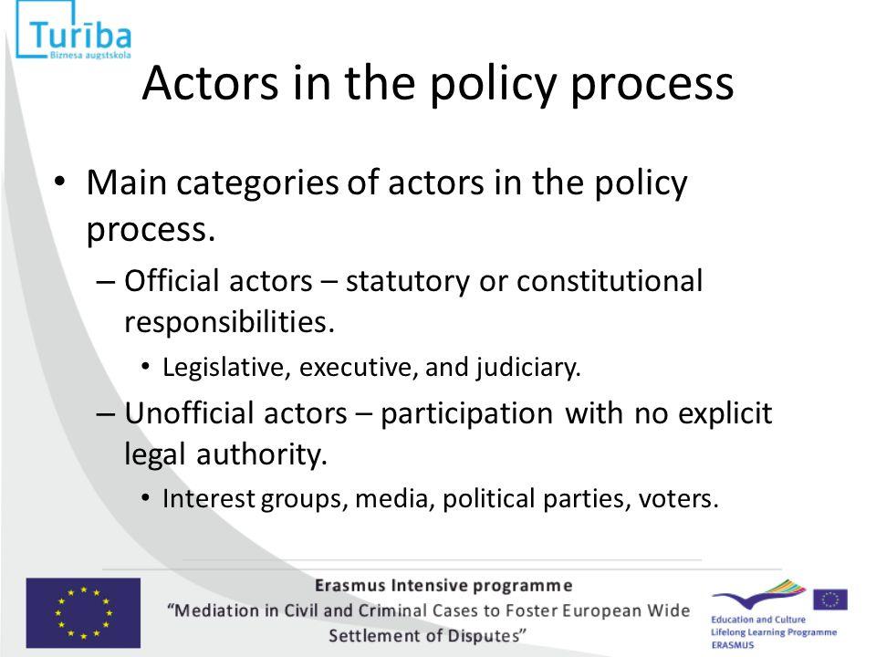 Actors in the policy process Main categories of actors in the policy process. – Official actors – statutory or constitutional responsibilities. Legisl