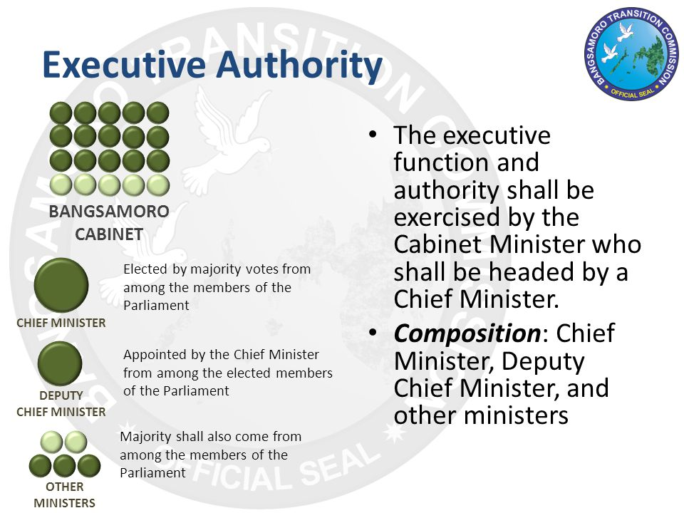 The executive function and authority shall be exercised by the Cabinet Minister who shall be headed by a Chief Minister.