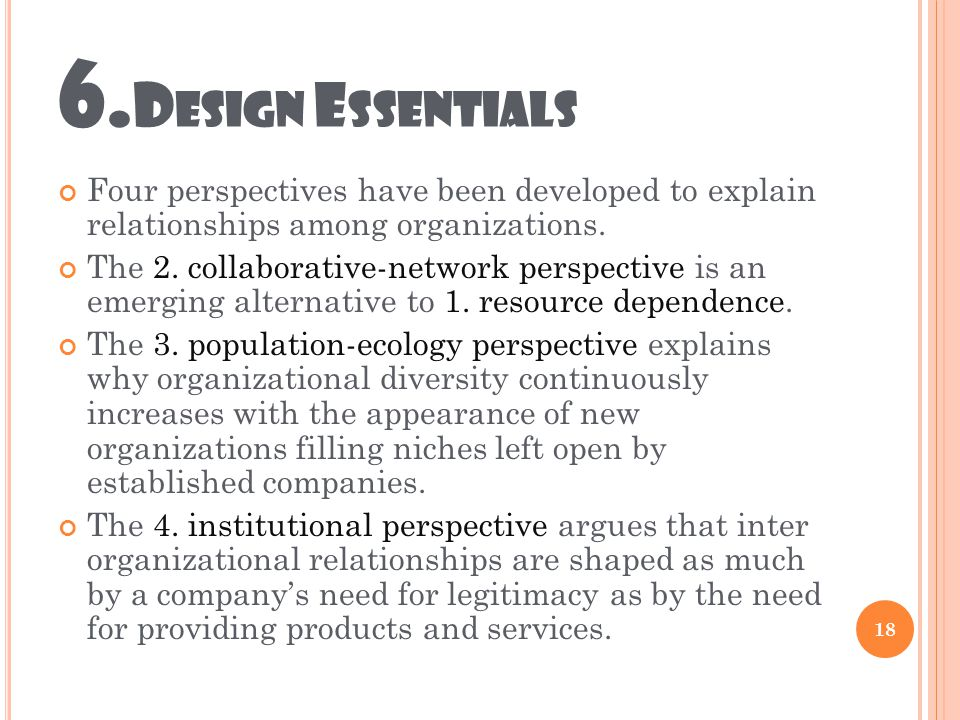 6. D ESIGN E SSENTIALS Four perspectives have been developed to explain relationships among organizations. The 2. collaborative-network perspective is