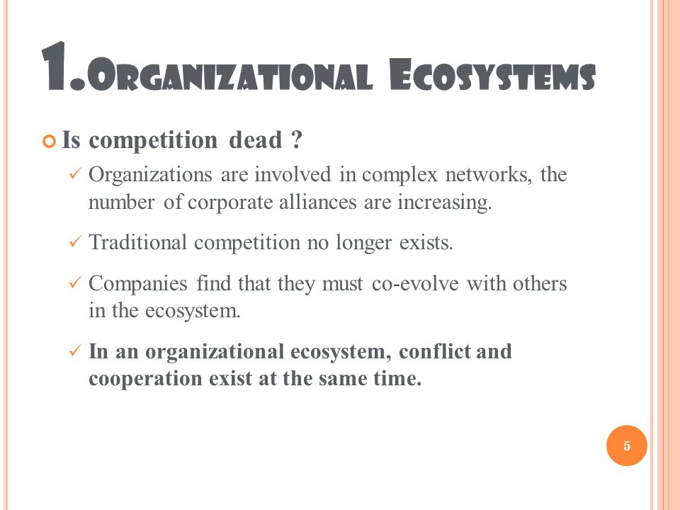 1.O RGANIZATIONAL E COSYSTEMS Is competition dead .