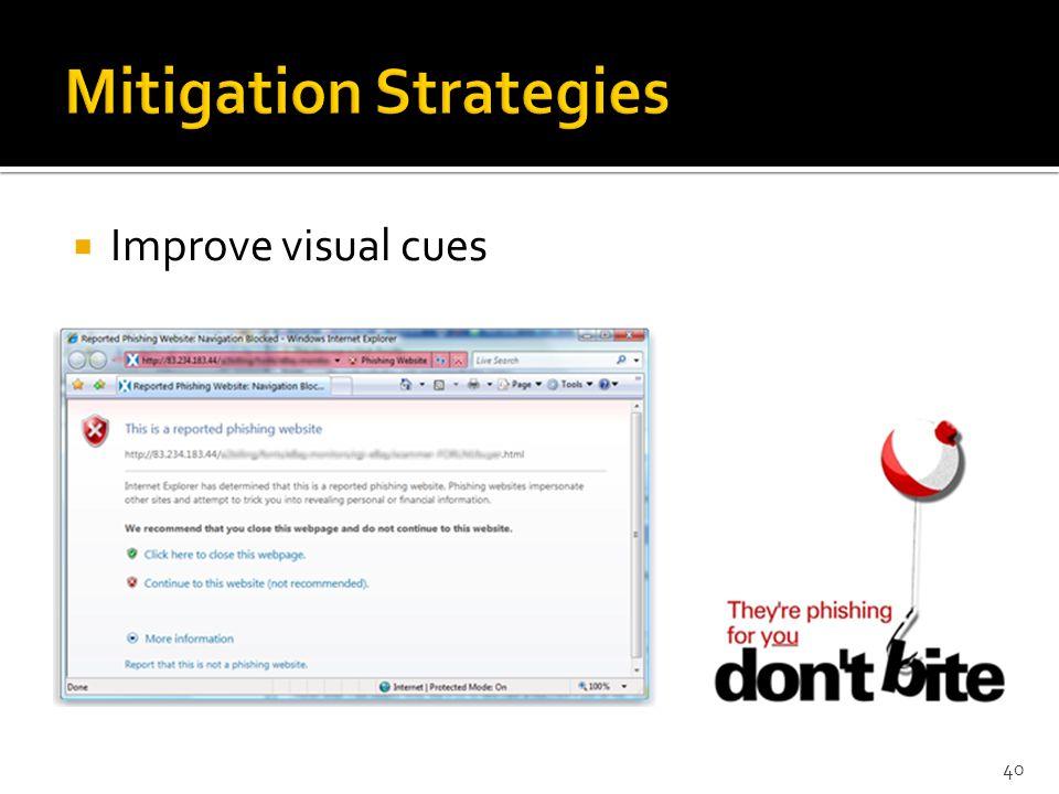  Improve visual cues 40