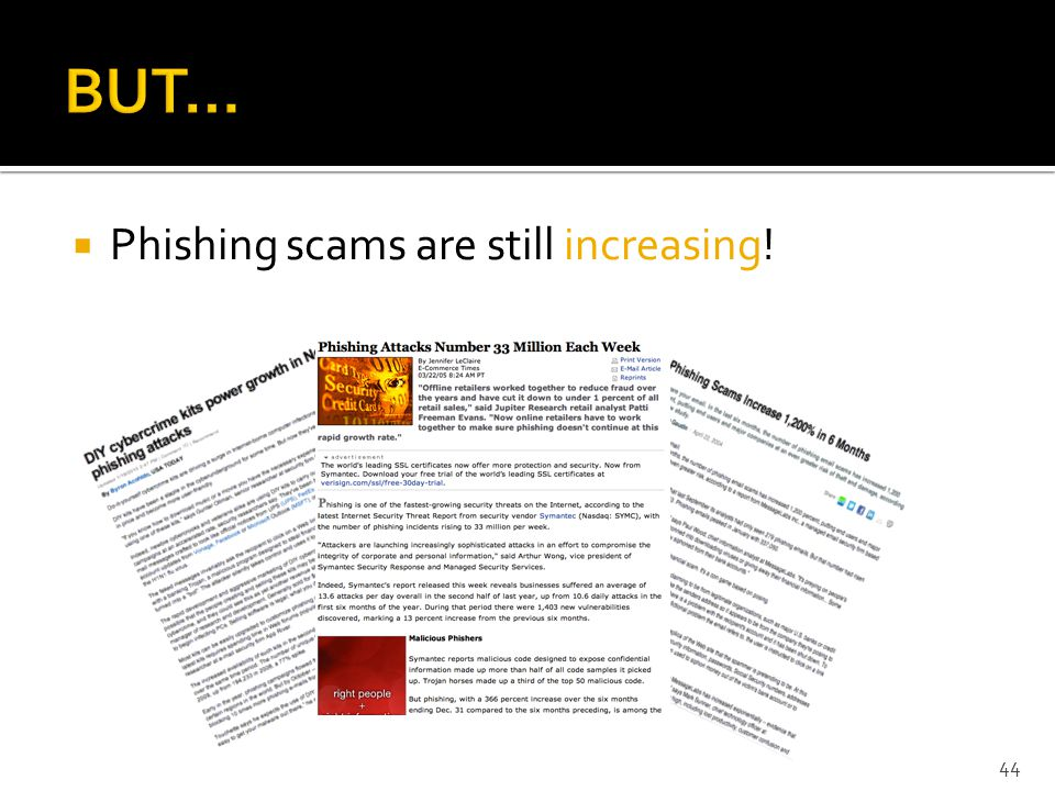  Phishing scams are still increasing! 44