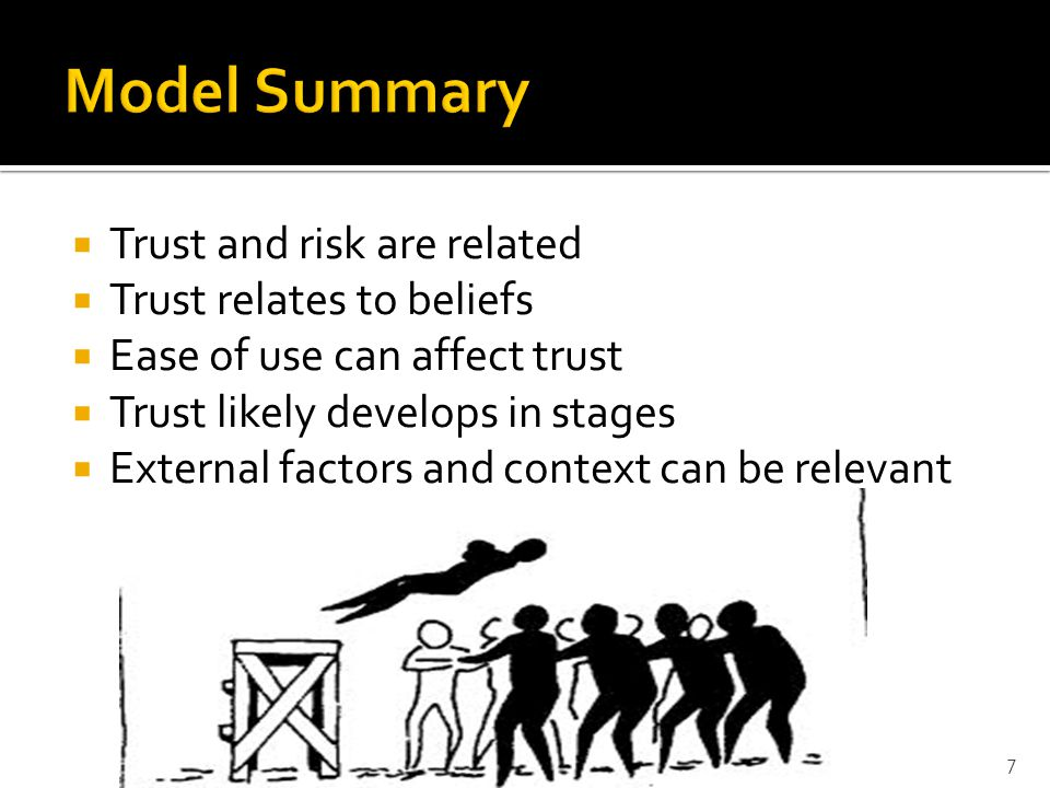  Trust and risk are related  Trust relates to beliefs  Ease of use can affect trust  Trust likely develops in stages  External factors and context can be relevant 7