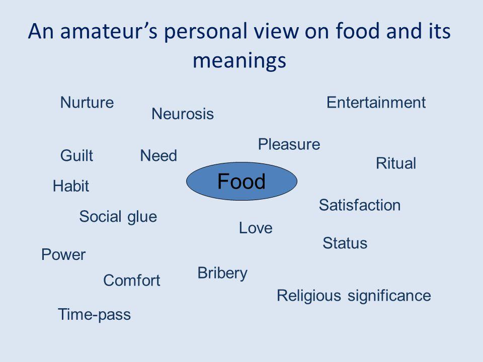 Food Entertainment Neurosis Habit Pleasure Need Social glue Satisfaction Comfort Status Love Power Bribery Time-pass Nurture Religious significance Ri
