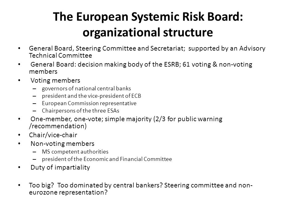 The European Systemic Risk Board: organizational structure General Board, Steering Committee and Secretariat; supported by an Advisory Technical Commi