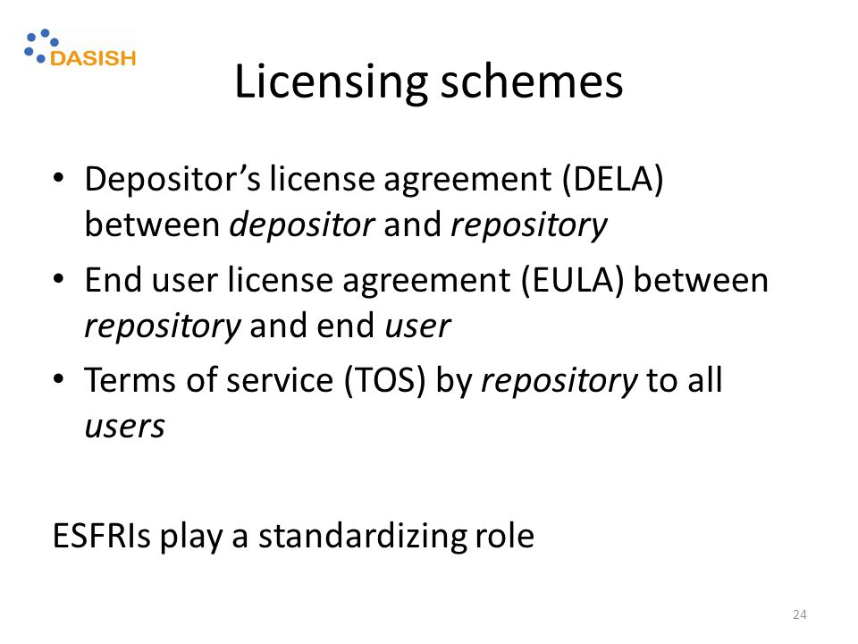 Licensing schemes Depositor's license agreement (DELA) between depositor and repository End user license agreement (EULA) between repository and end user Terms of service (TOS) by repository to all users ESFRIs play a standardizing role 24