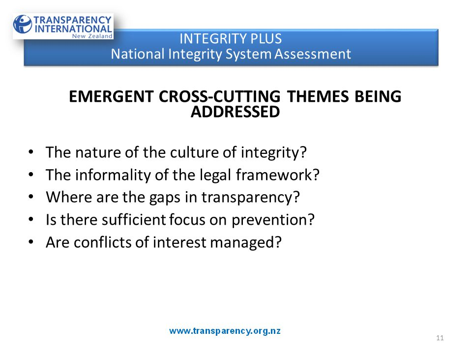 CROSS-CUTTING THEMES EMERGENT CROSS-CUTTING THEMES BEING ADDRESSED The nature of the culture of integrity.