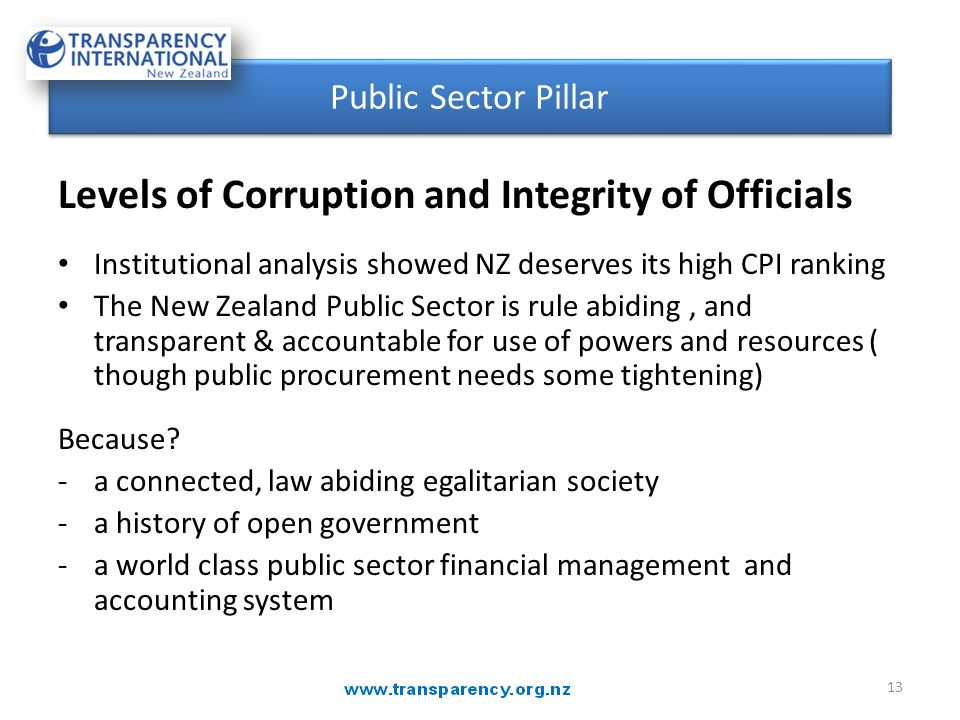 Levels of Corruption and Integrity of Officials Institutional analysis showed NZ deserves its high CPI ranking The New Zealand Public Sector is rule a