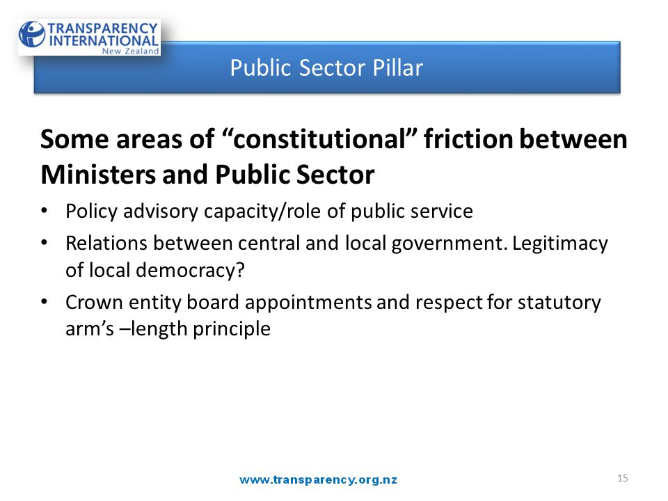 "Some areas of ""constitutional"" friction between Ministers and Public Sector Policy advisory capacity/role of public service Relations between central"