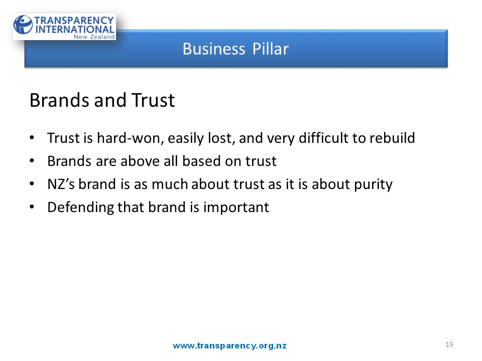 Brands and Trust Trust is hard-won, easily lost, and very difficult to rebuild Brands are above all based on trust NZ's brand is as much about trust a