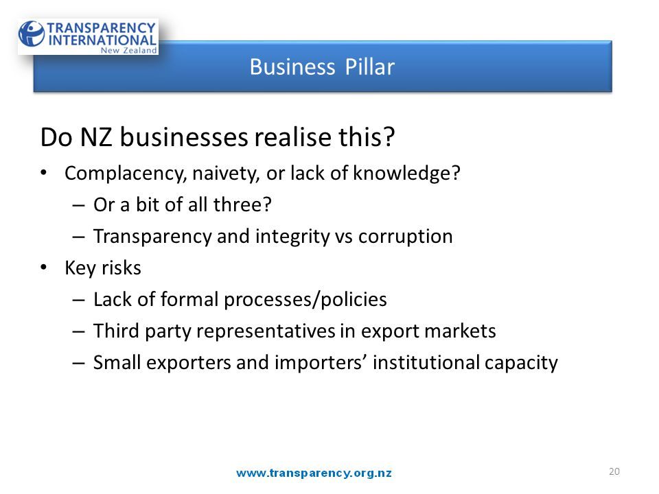 Do NZ businesses realise this? Complacency, naivety, or lack of knowledge? – Or a bit of all three? – Transparency and integrity vs corruption Key ris