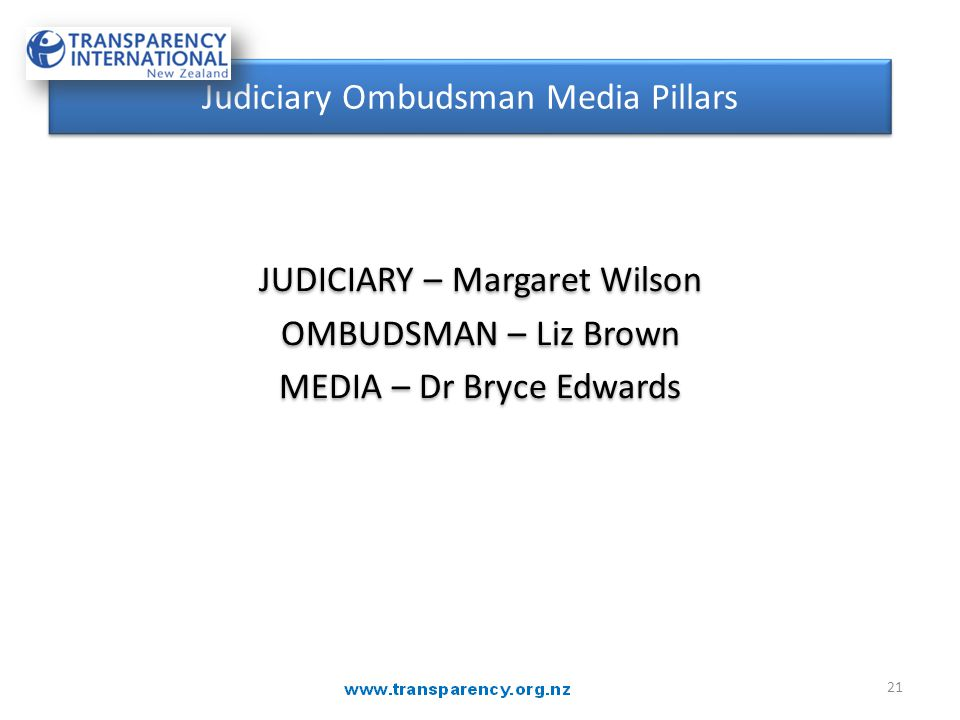 JUDICIARY – Margaret Wilson OMBUDSMAN – Liz Brown MEDIA – Dr Bryce Edwards JUDICIARY – Margaret Wilson OMBUDSMAN – Liz Brown MEDIA – Dr Bryce Edwards Judiciary Ombudsman Media Pillars 21