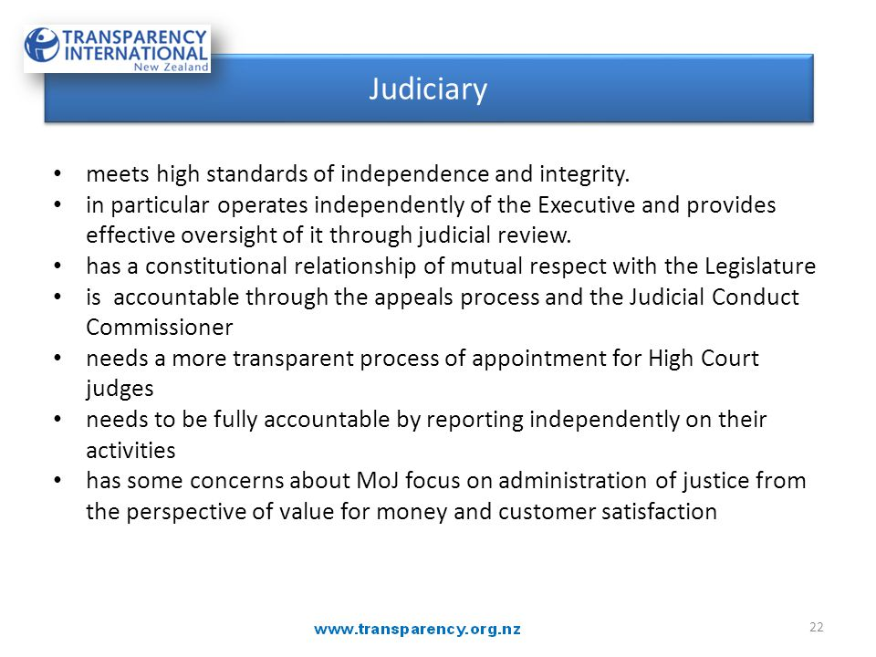 JUDICIARY meets high standards of independence and integrity.