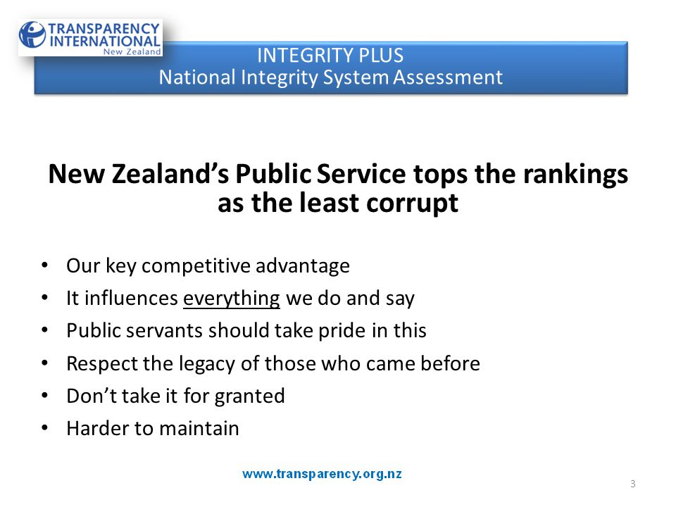 New Zealand's Public Service tops the rankings as the least corrupt Our key competitive advantage It influences everything we do and say Public servan