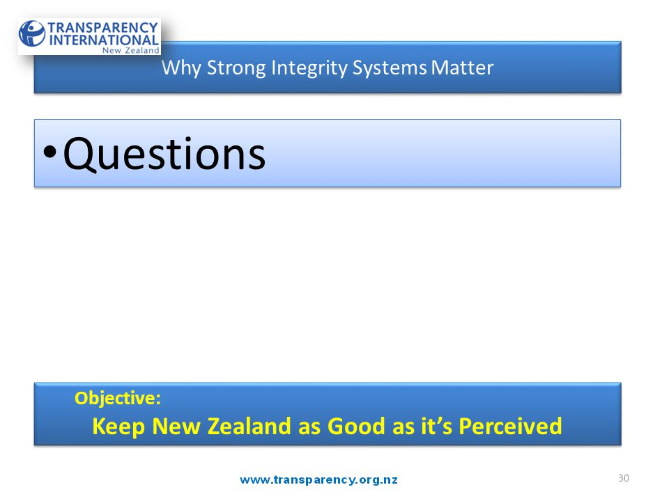 30 Objective: Keep New Zealand as Good as it's Perceived Objective: Keep New Zealand as Good as it's Perceived Why Strong Integrity Systems Matter Que