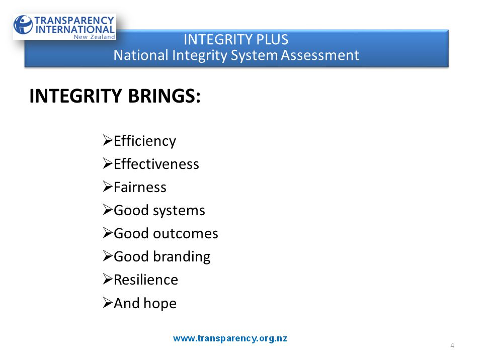 Since the 2003 National Integrity System assessment, there have been some welcome areas of strengthening of transparency systems and accountability in New Zealand.