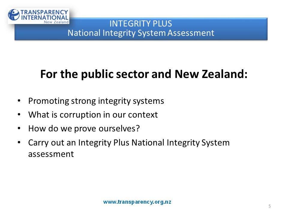 For the public sector and New Zealand: Promoting strong integrity systems What is corruption in our context How do we prove ourselves? Carry out an In