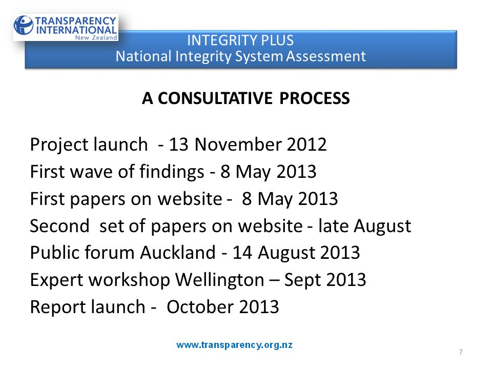 A CONSULTATIVE PROCESS Project launch - 13 November 2012 First wave of findings - 8 May 2013 First papers on website - 8 May 2013 Second set of papers