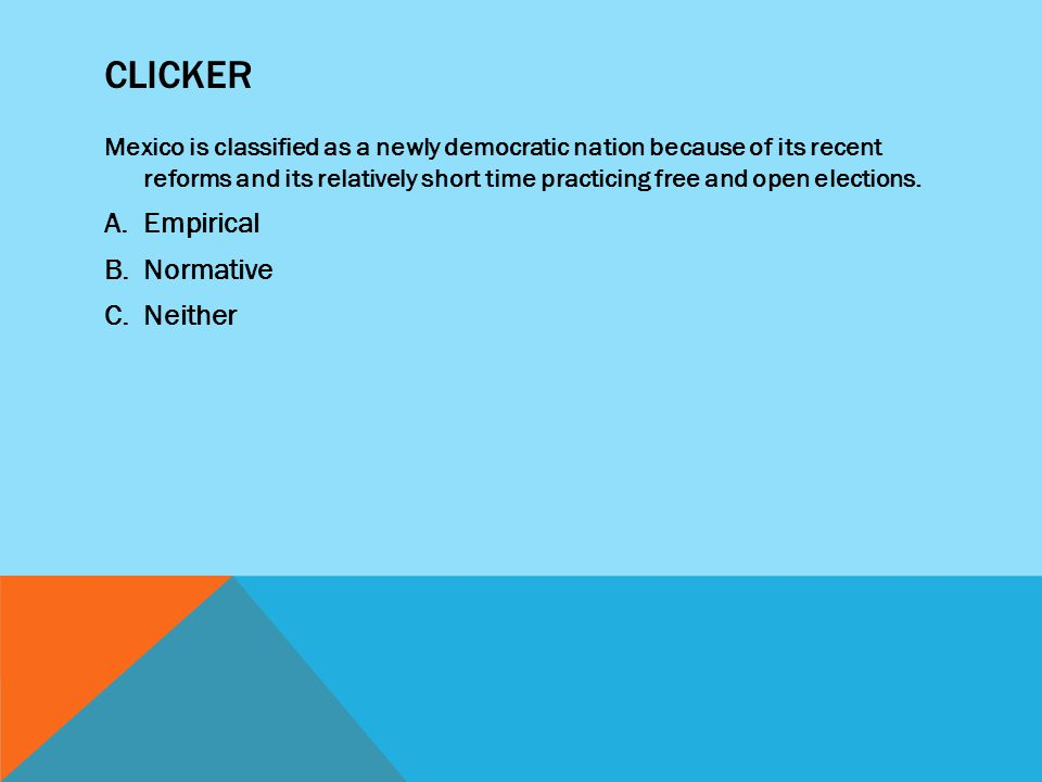 CLICKER Mexico is classified as a newly democratic nation because of its recent reforms and its relatively short time practicing free and open elections.